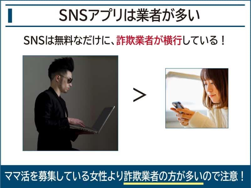 SNSアプリは詐欺業者が多い